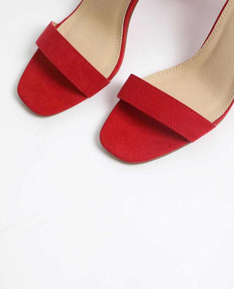 Sandales à talons microfibre brique