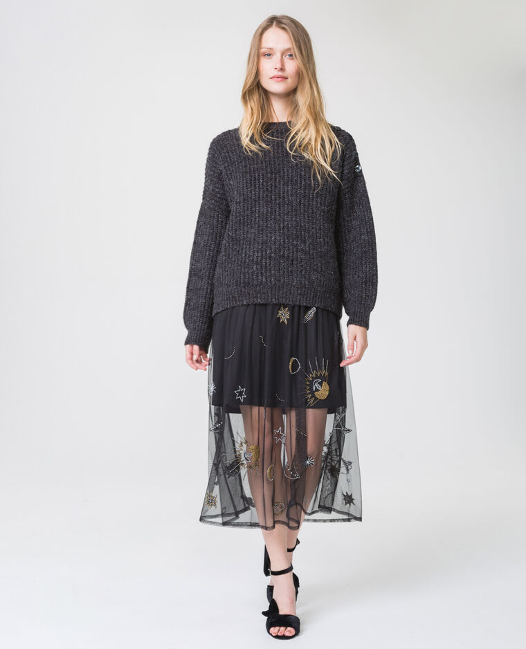 Robe imprimée en tulle noir