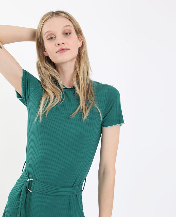 Robe côtelée vert