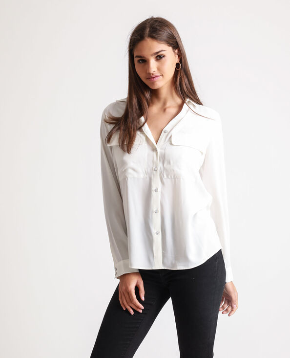 Soepelvallend hemd gebroken wit