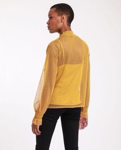 Top en plumetis jaune