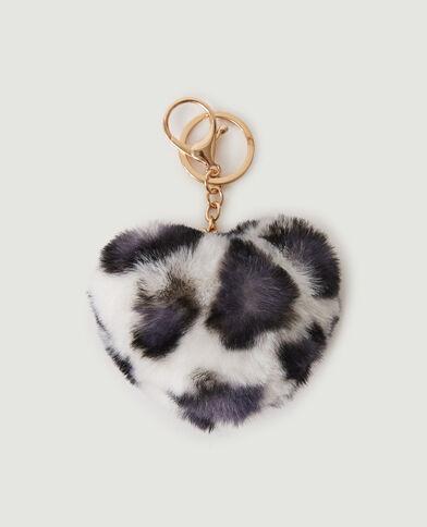 Porte-clé cœur léopard tout doux beige - Pimkie