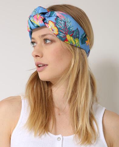 Haarband met tropische print blauw