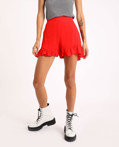 Short met ruches Rood