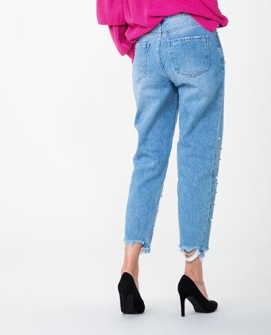 Mom jeans met parels denimblauw
