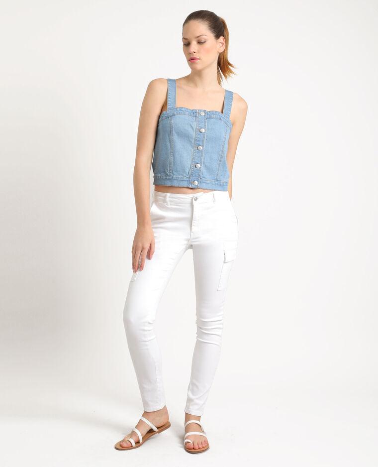 Pantalon skinny à poches blanc