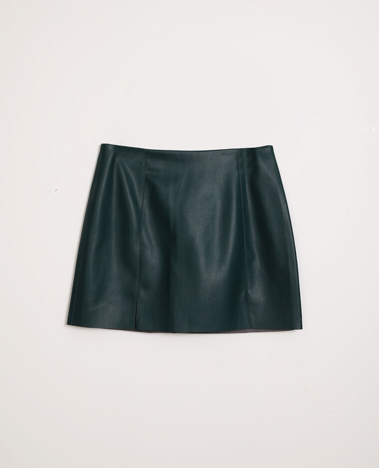 Jupe courte simili cuir vert
