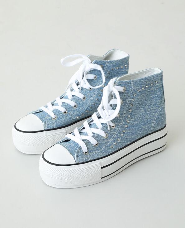 Hoge sneakers met platformzolen en studs blauw - Pimkie