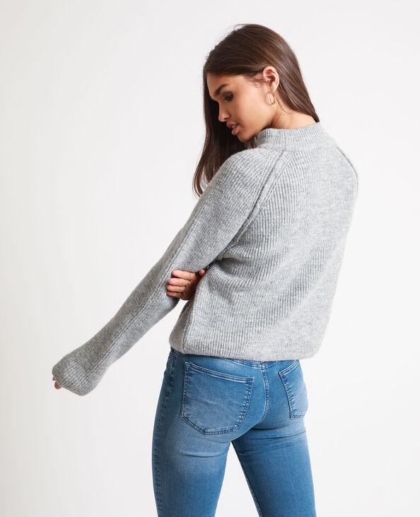 Korte trui gemêleerd grijs