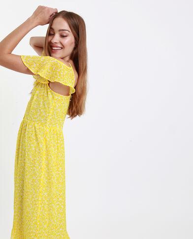 09eca1279e3285 Lange jurk met open schouders geel