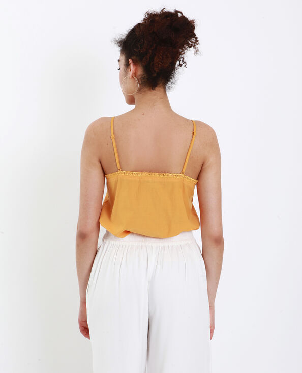 Top à broderies jaune