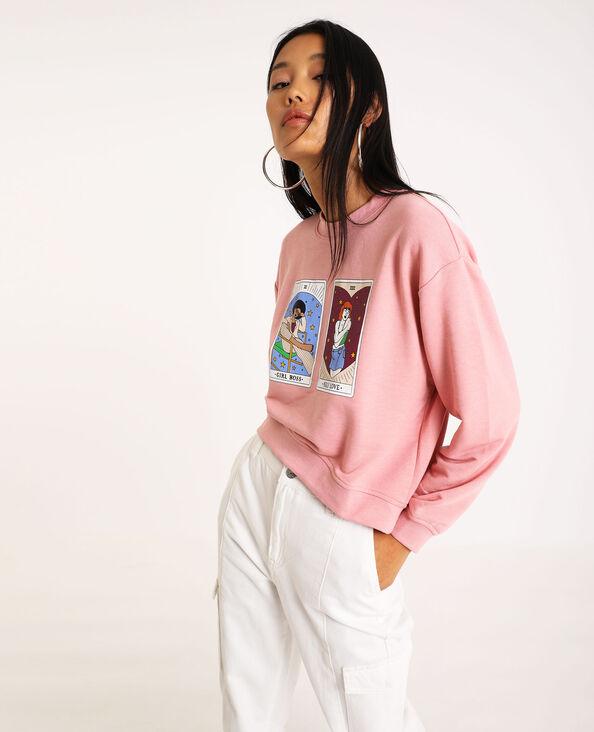 Sweater met print roze