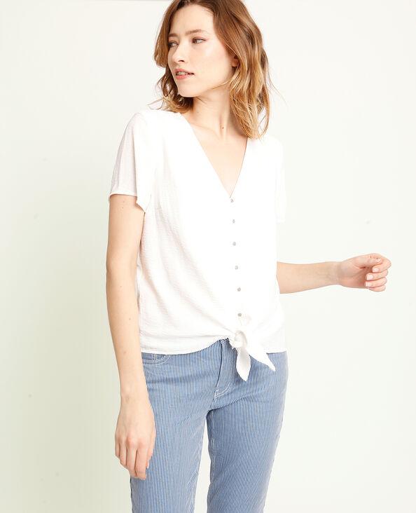 Shirt met strikjes gebroken wit