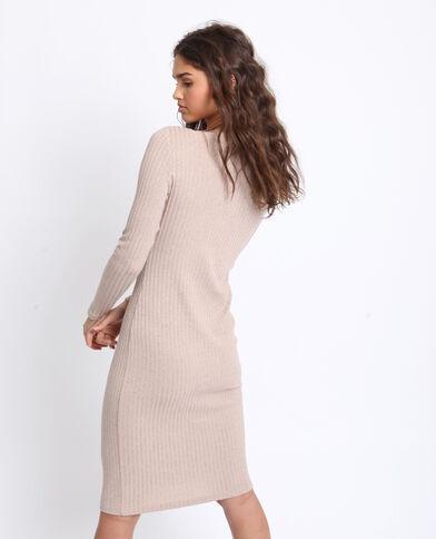 Lange jurk van ribstof bruin