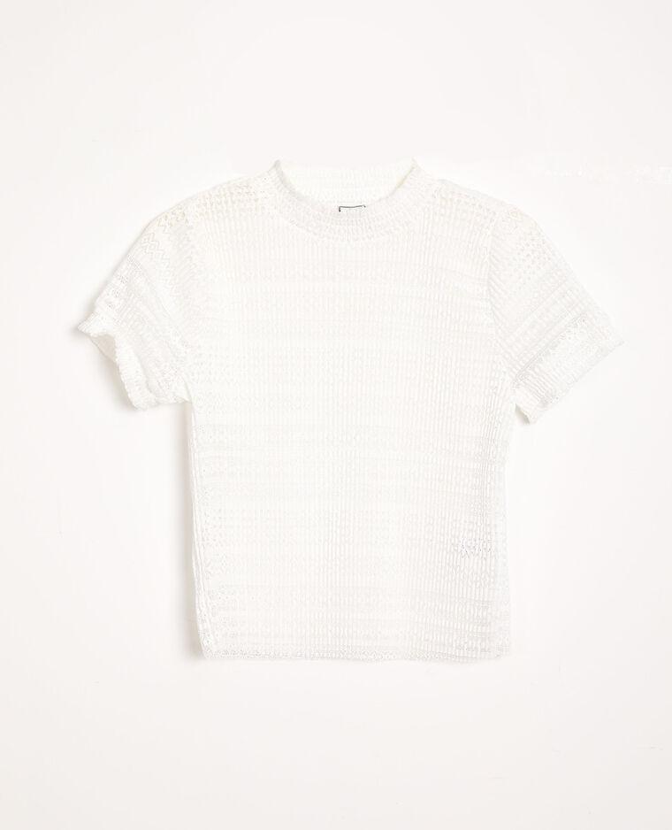 T-shirt ajouré blanc cassé