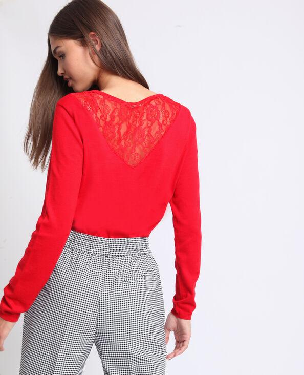 Kanten trui rood