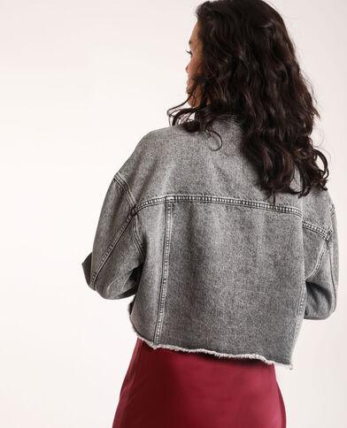 Kort jeansjasje verwassen grijs