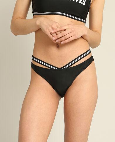 Bikinislip uit twee materialen zwart