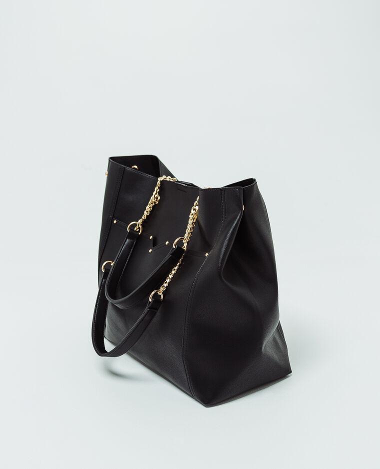 Soepele tas van imitatieleer zwart