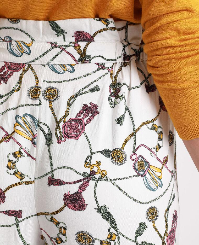 Pantalon à imprimé écru