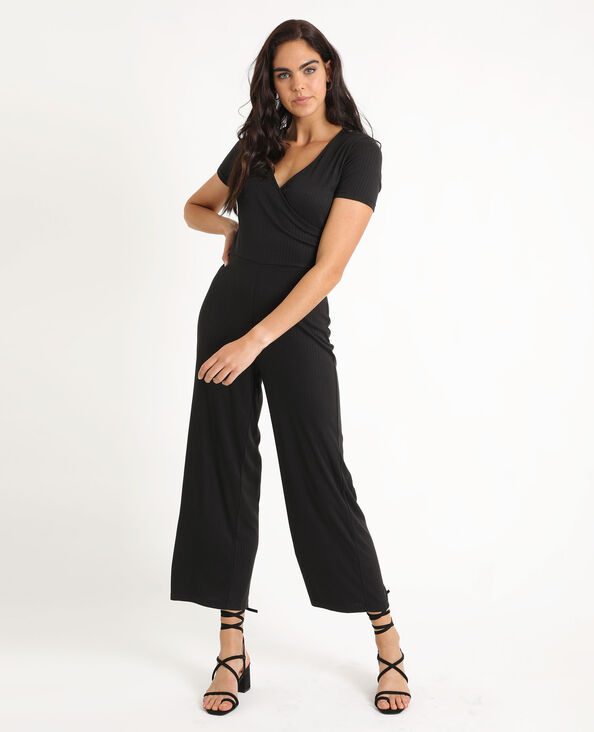 Combi-pantalon à jambes larges noir
