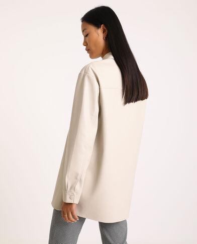 Oversized hemd van kunstleer gebroken wit