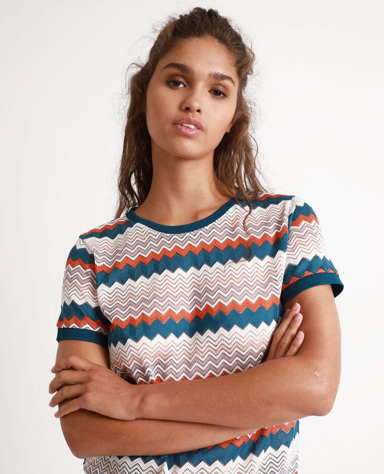 T-shirt multicolore bleu-vert