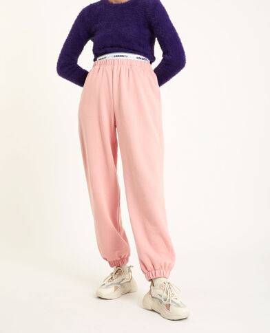Pantalon molleton loungwear rose