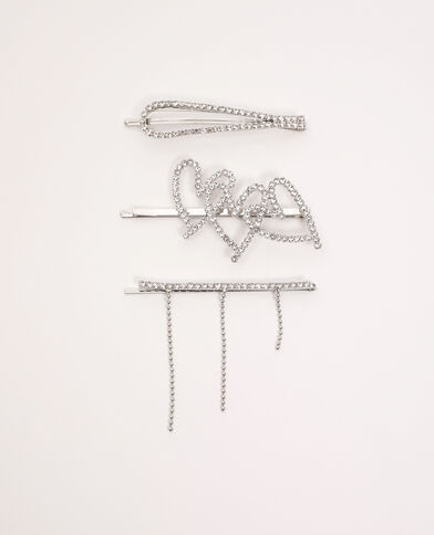 Lot de 3 barrettes strass doré