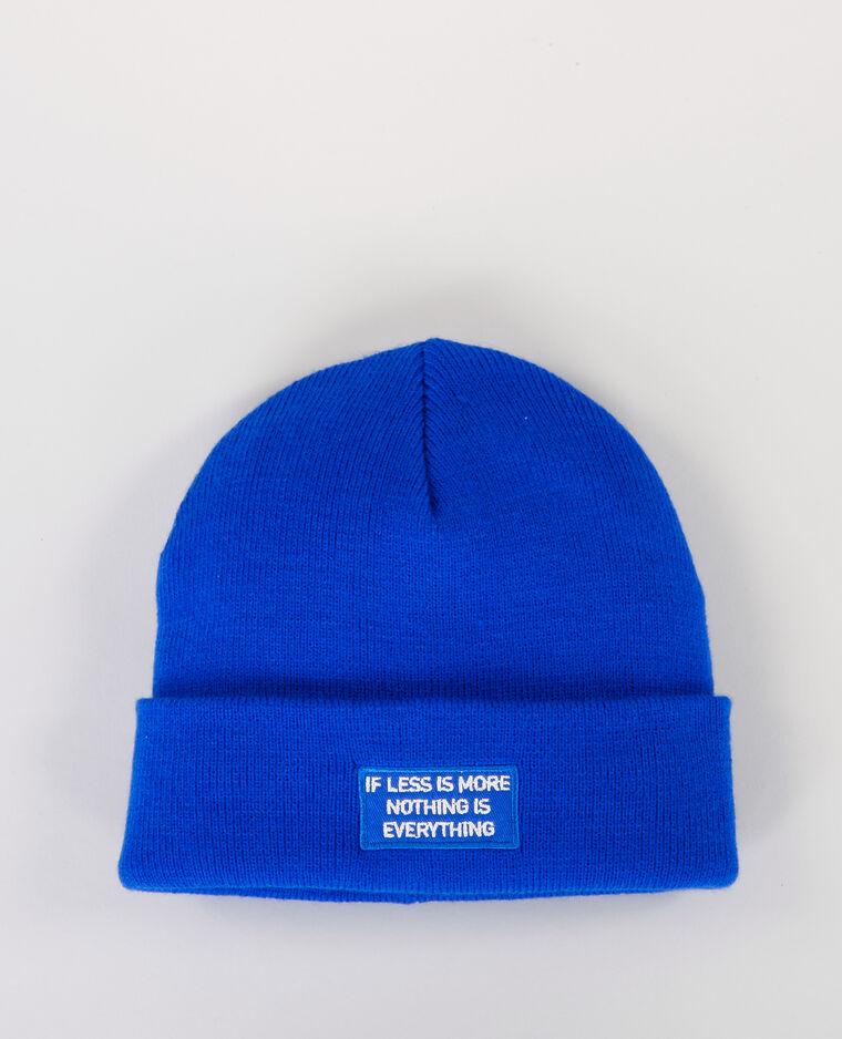 21329d38f5856 Bonnet avec inscription bleu électrique - 902531618A06 | Pimkie
