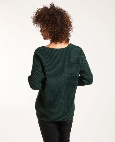 - Ruime trui met V-hals. groen