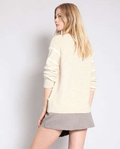 Pull à rayures beige