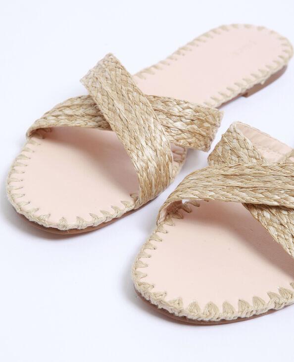 Sandalen van raffia geweven beige