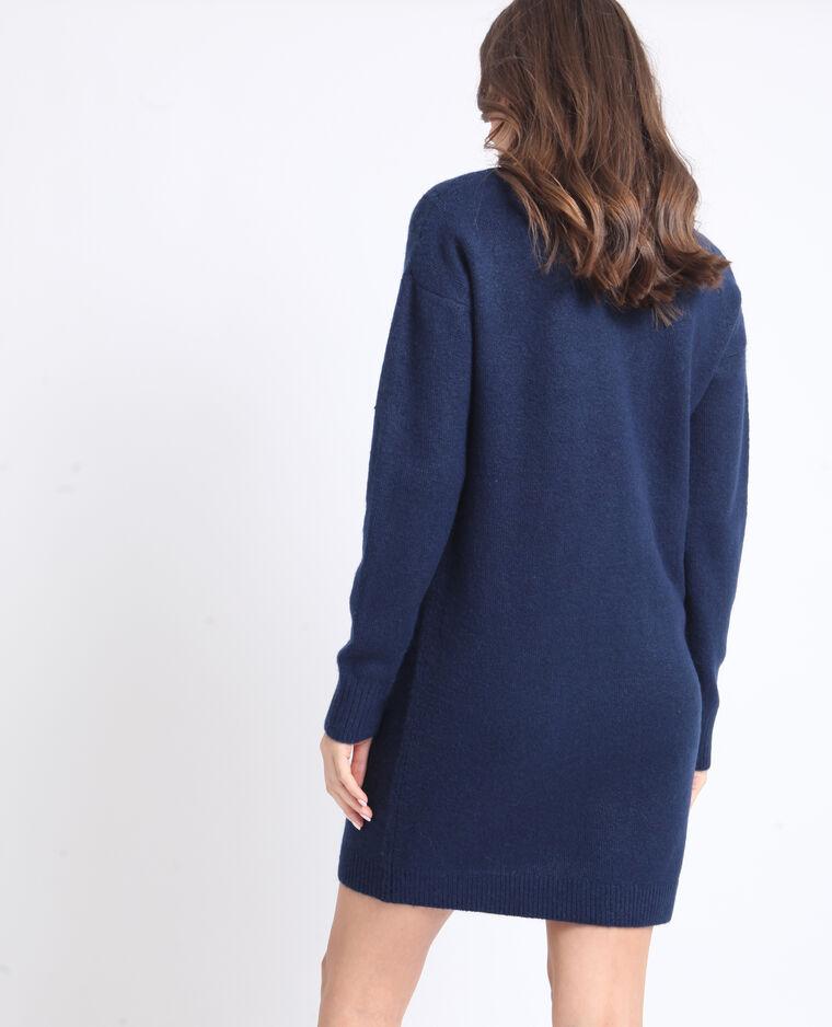 Robe pull à col V bleu foncé