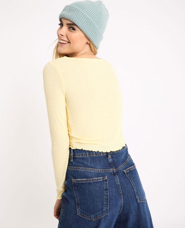 Kort shirt met lange mouwen geel