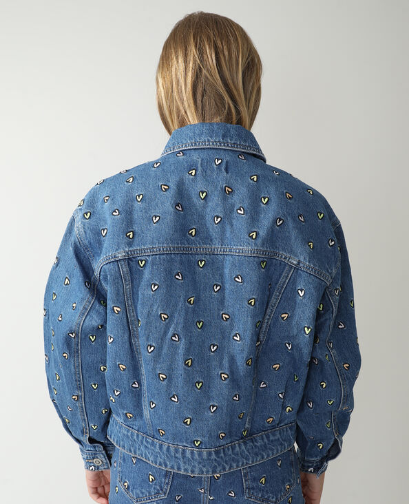 Jeansvestje met hartjes denimblauw - Pimkie
