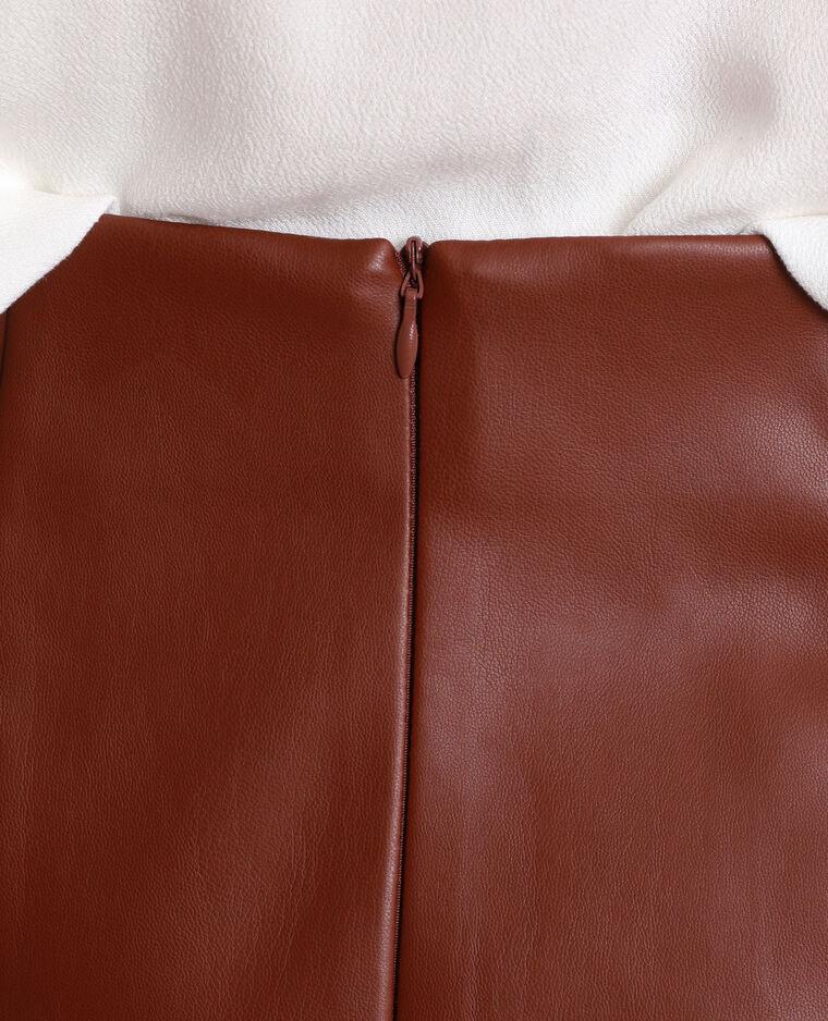 Halflange rok van kunstleer kastanjebruin