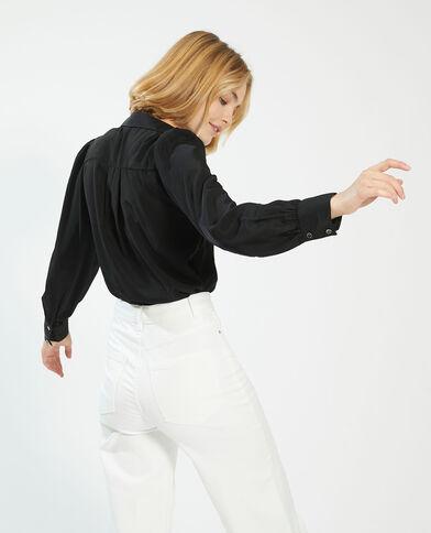 Zijdeachtige blouse met fantasieknopen zwart - Pimkie