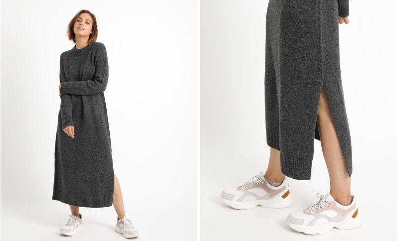 Robe pull longue gris