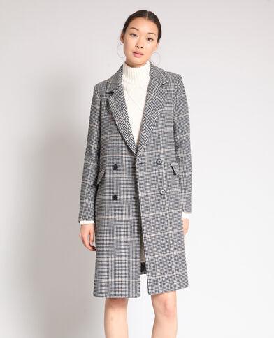 Lange jas met hanenpootprint Beige