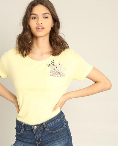 T-shirt met borduursels geel