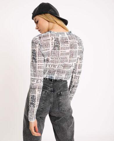 T-shirt van netstof gebroken wit