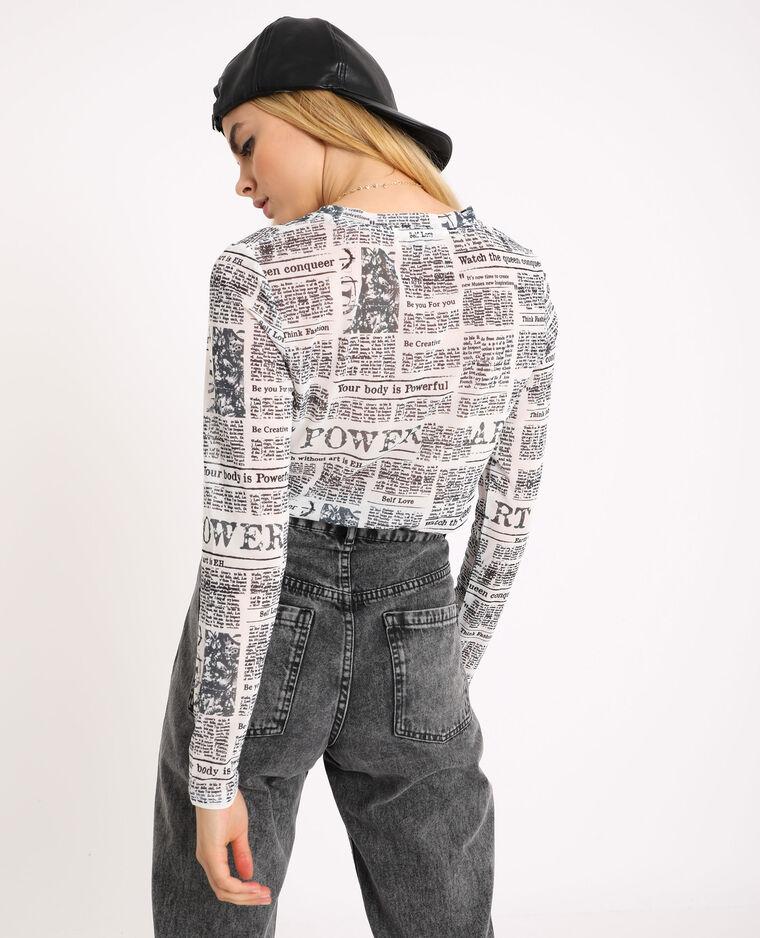 T-shirt en mesh blanc cassé