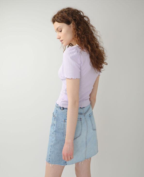 T-shirt van ribstof violet - Pimkie