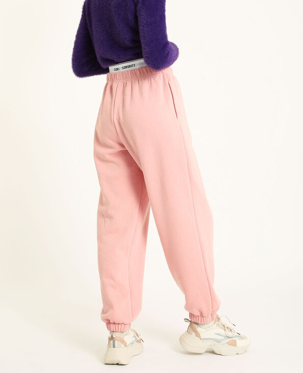 Loungewear broek van molton roze
