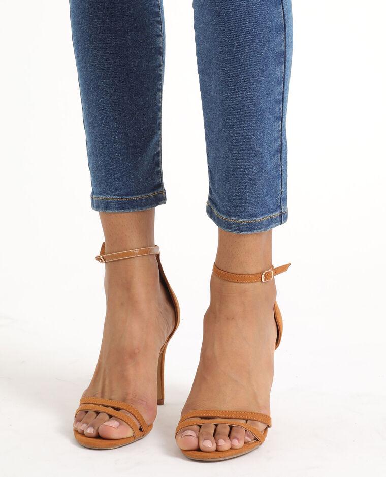 Sandalen met naaldhakken kastanjebruin