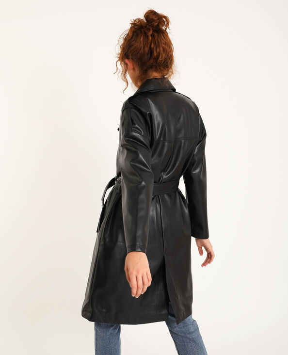 Trench en simili cuir noir