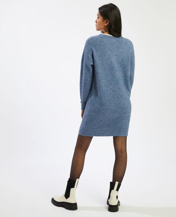 Trui-jurk met V-hals blauw - Pimkie