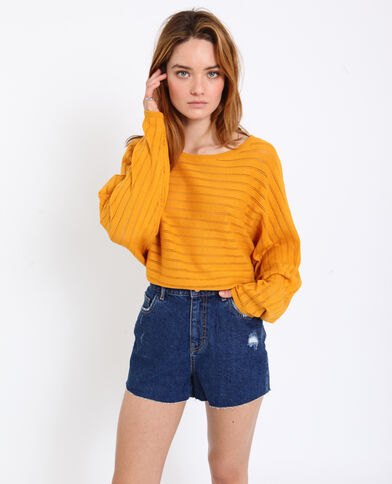 Opengewerkte dunne trui geel