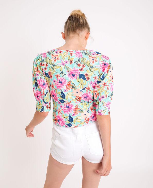 Korte blouse met bloemen turkoois